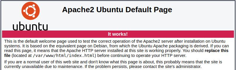 default Apache page